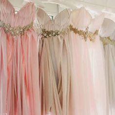Perfect for your Pinterest: we are LOVING these gorgeous ombre bridesmaid dresses! {image by KT Merry Photography via Style Me Pretty} #pastelpretty #wedding #bridesmaids #ombre #inspired #gown #bling #details