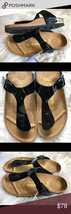 $69 FIRM BNWT Birkenstock Patent Black Gizeh 37 N Brand new with tags and box. Box might not be in perfect shape due to handling.  Size 37 Narrow width  No returns so please know your size in Birks before ordering. I can only guarantee I will be sending the European size stated on the listing. All items are inspected throughly before shipment.  Price is Firm  Thanks Birkenstock Shoes Sandals