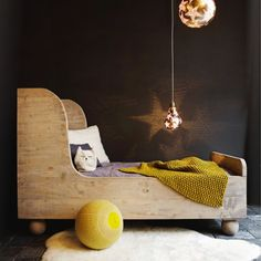 kids room with great wood bed, via milk mag