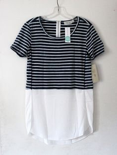 Spring 2016 Stitch Fix Review and Gift Card Giveaway. RD Style Anso Mixed Material Knit Top. Blue and white stripe shirt. Casual chic