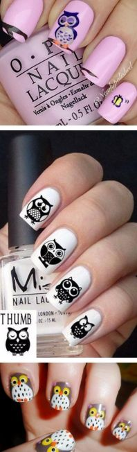 Cute Owl Ideas Nail Art Designs | Fashion Te