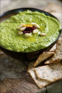 Namely Marly's Green Monster Hummus is a great appetizer served with crackers