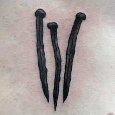 rwatattoo:  Rusty nails on sternum. Thanks Tom #oldkey...
