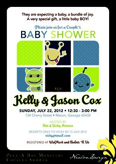 Nealon Design: Peek-A-Boo Monsters BABY SHOWER Invitation