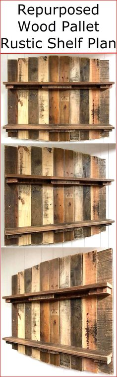 If you are one of them who considers a repurposed wooden pallet material a great way for home's furnishing and also searching for a great plan for the renovation and placement of your daily used items, then have a look at the charming first outlook impression of this thought-provoking recycled wood pallet rustic shelf plan. #pallets #woodpallet #palletfurniture #palletproject #palletideas #recycle #recycledpallet #reclaimed #repurposed #reused #restore #upcycle #diy #palletart #pallet…