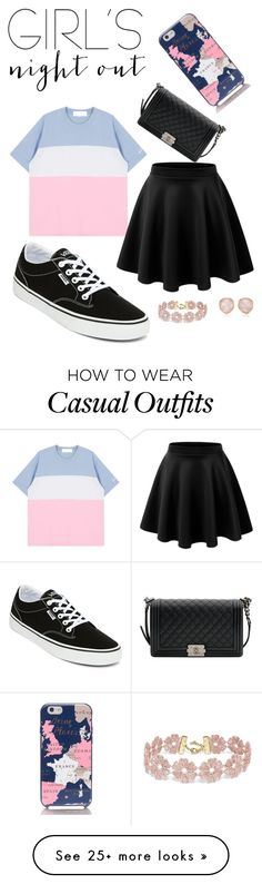 """Cute Girls Night Out Casual"" by kylieestrella on Polyvore featuring LE3NO, Vans, Chanel, BaubleBar, Monica Vinader, Kate Spade and girlsnightout"