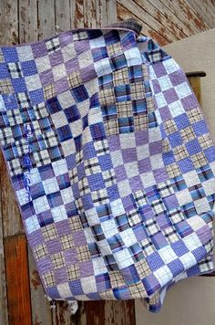 Plaid Shirt quilt at Alycia Quilts 16 Patch Quilt, Quilt Blocks, Quilting Projects, Quilting Designs, Plaid Quilt, Flannel Quilts, Plaid Flannel, Purple Quilts, Man Quilt