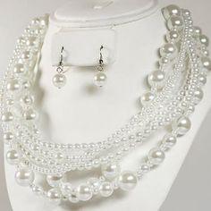 Collier Parure de Bijoux Mariage Perle blanche par Un Jour Spécial : accessoires & décorations de mariage