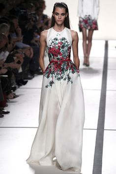 haute couture, dress, white, long, floral, evening, formal, painted, colorful