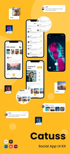 Catuss is a Social Media Application that helps you connect with friends, share everything from your daily moments to life's highlights. #uiux #ui #ux #uidesign #uikit #creative #mobile #app #yellow #social #network #instagram App Design Inspiration, Business Requirements, Adobe Xd, Mobile App Design, Ui Kit, App Ui, Ui Design, Style Guides, Connect
