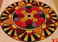 2nd prize winner - Floral Art competition for Onam, Kerala. Rangoli Designs Latest, Rangoli Designs Flower, Rangoli Patterns, Rangoli Ideas, Rangoli Designs Diwali, Diwali Rangoli, Flower Rangoli, Kolam Designs, Indian Rangoli
