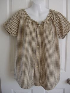 Peasant Blouse upcycled from a men's shirt 48 inch L beige plaid