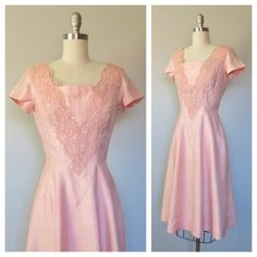 50s pink silk dress size small / 50s party by SwanSongVintage1