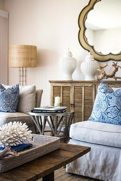 Advantage Property Styling, Coastal, Natural, Blue, White, Side Table, Ginger Jars, Linen Sofa, Scalloped Mirror, Louvred Buffet, Floor Lamp, Coffee Table, Wood, Rattan, Books