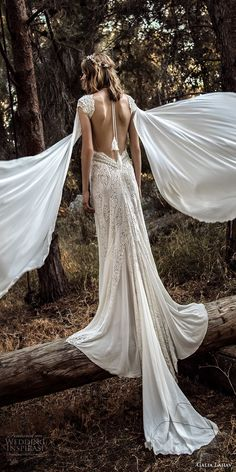 galia lahav gala 4 2018 bridal cap sleeves deep v neck full embellishment elegant sexy side slit sheath wedding dress sweep train (906) bv -- Gala by Galia Lahav 2018 Wedding Dresses