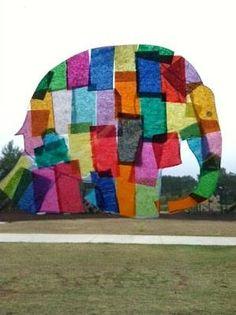 Elmer by David McKee - tissue paper art