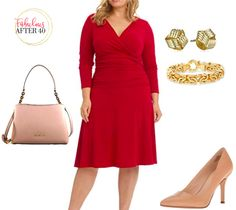 Fall Plus-Size Outfit - Red ruched wrap dress with nude accessories Plus Size Maxi Dresses, Plus Size Outfits, Dresses For Work, Dresses With Sleeves, Curvy Outfits, Chic Outfits, Work Outfits, Fall Outfits, Plus Size Fashion For Women