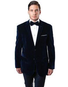 This modern fit velvet tuxedo features a 2 button closure, a wide sating peak lapel, and side vents. Sure to be a hit at any party! #NavyJacket #WeddingJacket #PromTux #WeddingTux #Tux #Wedding #Prom #DinnerJacket #Jacket Mens Dinner Jacket, Velvet Dinner Jacket, Navy Jacket, Tuxedo Jacket, Suit Jacket, Wedding Tux, Wedding Jacket, Prom Tux, Velvet Blazer