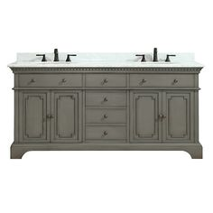 Azzuri French Gray Hastings Double Vanity Set with Wood Cabinet, Marble Vanity Top, and Two Undermount Sinks Double Sink Vanity, Wood Vanity, Bathroom Sink Vanity, Bathroom Tiling, Bathroom Cabinets, Granite Vanity Tops, Marble Vanity Tops, White Sink