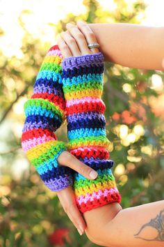 Arm Warmers in Rainbow Stripes by Mademoiselle Mermaid.   crochet