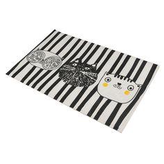Fashion Design Home Bedroom Bathroom Flannel Floor Carpets Funny Cat Pattern Anti-Slip Floor Mat Carpet 5 Sizes Optional