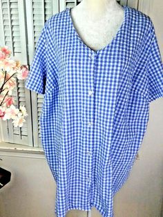 8a2692759ee Woman Within Women s Plus Size 3X Blouse lilac white checkered button up   WomanWithin  Blouse