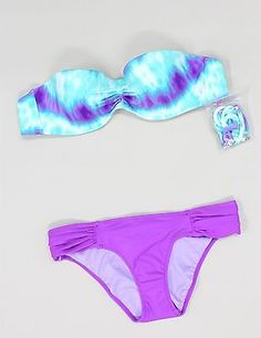 Victoria's Secret Bikini Bandeau Tie Dye Blue Push Up Madi Sexy 32B XS NEW