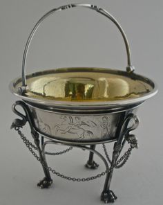 Unusual Tiffany & Co sterling silver sugar basket in a  neoclassical style, c1865 (vincentcallahan)