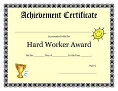 printable achievement certificates kids | Hard Worker Achievement Certificate Printable | Coloring Pages Sheets