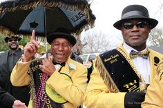 """Lundi Gras around New Orleans! - King of Zulu Andrew """"Pete"""" Sanchez on the right"""