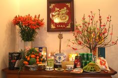 Altering place - the most holy corner in each Vietnamese house - is lit and decorated in Tet holiday time