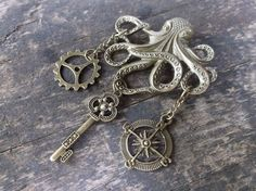 Steampunk Brooch - Octopus with Gear, Key and Compass Rose in Antique Bronze, Jules Verne, Pirate, Nautical