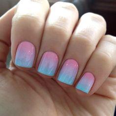 Cotton candy nails gradient nails, pastel nails, neon nails, love n Gradient Nails, Neon Nails, Love Nails, How To Do Nails, Pretty Nails, Ombre Nail, Pastel Gradient, Diy Ombre, Sunset Gradient