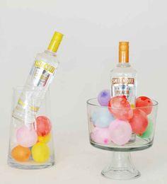 Keep your liquor cool using balloons.