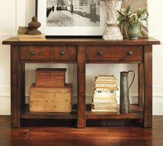 Traditional Living Room Decor with Bronze Round Two Handle Drawers and Pottery Barn Rustic Dark Mahogany Stain Console Table With Two Drawers. 7 furniture designs in Vintage Pottery Barn Media Console Designs gallery