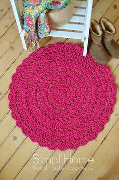 crochet rug cerise doily rug round cotton rug by simplihomedecor