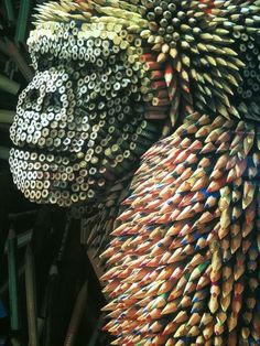 A gorilla statue made from colored pencils. That is all.