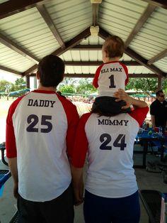 Eli's first birthday family shirts. (Sports themed)