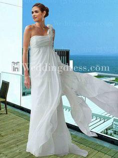 Destination Wedding Dress,beach wedding dress,wedding dresses,elegant wedding gown,chiffon wedding dress,one-shoulder wedding gown,bridal gown