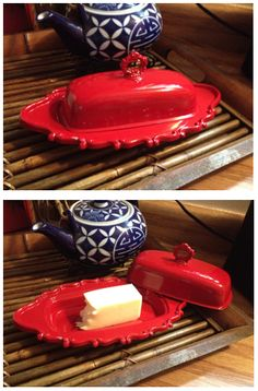 Powder Coated Vintage Butter Dish Butter Cheese, Butter Dish, Gravy Boats, Cheese Trays, Vintage Dishes, Powder Coating, Crafty, Antique, House