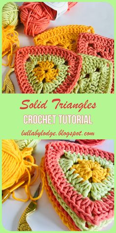 Solid Triangles A crochet tutorial by Lullaby Lodge Learn how to make solid crochet triangles in this easy tutorial by Lullaby Lodge Suitable for beginner crocheters Crochet Triangle Pattern, Crochet Motifs, Crochet Blocks, Crochet Afghans, Crochet Squares, Crochet Bunting Pattern, Crochet Granny, Crochet Cushions, Crochet Pillow
