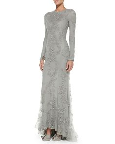 Ralph Lauren Collection Long-Sleeve Beaded Evening Gown