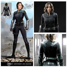 Daisy Johnson: AKA Quake! Concept to Completion. Here is a better view of both the front and back view of the costume. I may have to sketch this one in a key frame! || Skye || by Phillip Boutte Jr, Costume Design by: @ann.foley || 736x736 || #conceptart