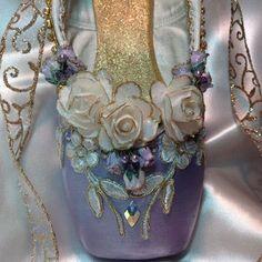 Purple and Gold Sugarplum Fairy decorated pointe shoe. Waltz .