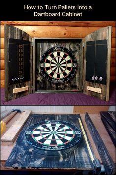 Dartboard Cabinet Diy, Dart Board Cabinet, Dart Set, Old Pallets, Cabinet Making, Diy Cabinets, Man Cave, Repurposed, Easy Diy