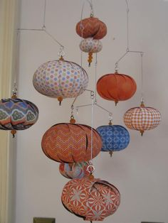 Perfect colors for the nursery!  Hanging mobile blue orange contemporary colors by LMackeyCreations, $50.00