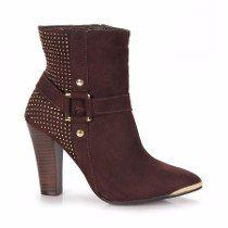 Bota Ankle Boots Via Marte 14-7407 Café Couro (frete Grátis)