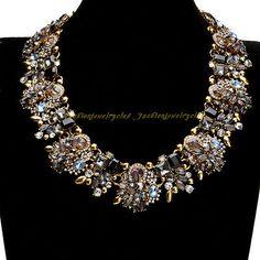 New Fashion Jewelry Gold Chain Colorful Glass Rhinestone Statement Bib Necklace