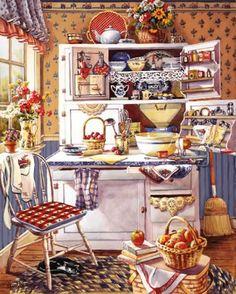 LÁMINAS VINTAGE,ANTIGUAS,RETRO Y POR EL ESTILO.... (pág. 1108) | Aprender manualidades es facilisimo.com Vintage Art, Vintage Wife, Vintage Prints, Country Art, Country Kitchen, Country Living, Hoosier Cabinet, Cupboard, Food Illustrations