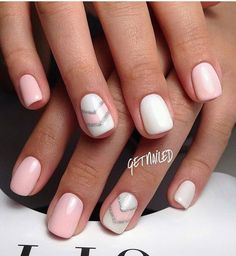 "If you're unfamiliar with nail trends and you hear the words ""coffin nails,"" what comes to mind? It's not nails with coffins drawn on them. It's long nails with a square tip, and the look has. Nails Yellow, Pale Pink Nails, Pink Manicure, Manicure Ideas, Chevron Nail Art, Nail Art Stripes, Striped Nails, Pink Chevron Nails, Chevron Nail Designs"